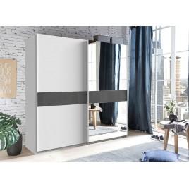 Armoire moderne 135 ou 180 cm 2 portes coulissantes blanche et verre gris