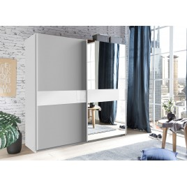 Armoire penderie 135 ou 180 cm 2 portes coulissantes gris clair et verre blanc