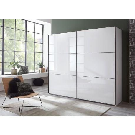 Armoire 2 portes coulissantes façades verre blanc L 200 ou L 250 cm