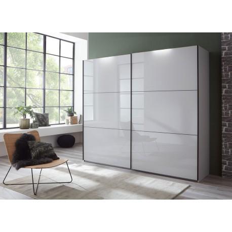 Armoire 2 portes coulissantes façades verre gris clair L 200 ou L 250 cm