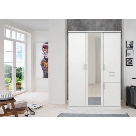 Armoire 4 portes avec miroir et tiroirs L 135 cm