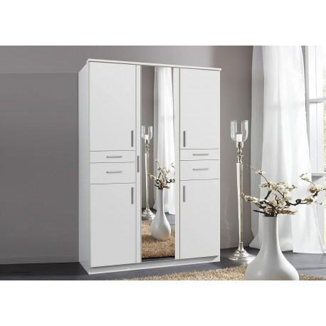 Armoire 5 portes avec miroir et 4 tiroirs L 135 cm