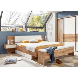 Lit moderne 160x200 cm avec chevets suspendus chêne poutre et blanc