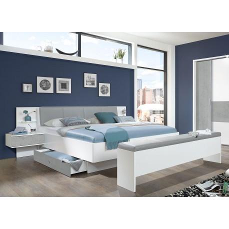 Lit de chambre adulte 160x200 cm avec chevets suspendus gris béton clair et blanc