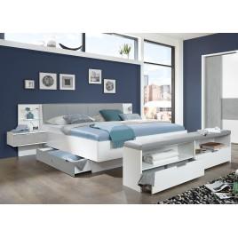 Lit double 160x200 cm avec chevets suspendus blanc et gris béton