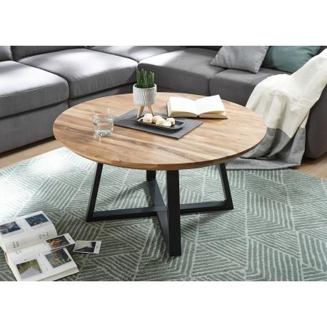 Table basse ronde en bois massif d'acacia et piétement métal noir