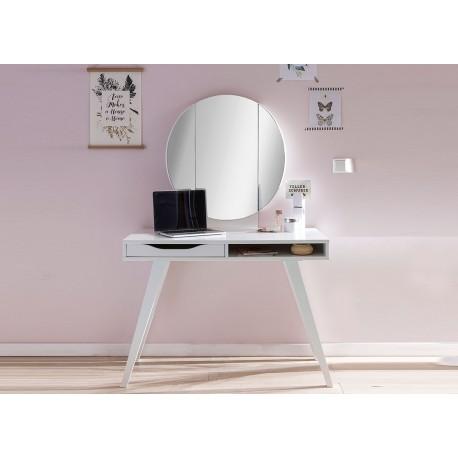 Table de maquillage avec miroir de couleur blanche