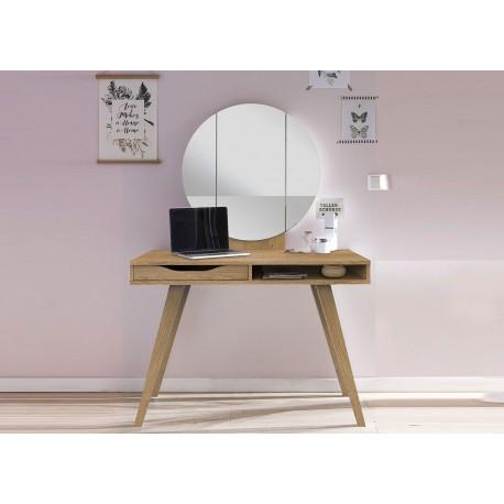 Table de maquillage avec miroir rond chêne poutre