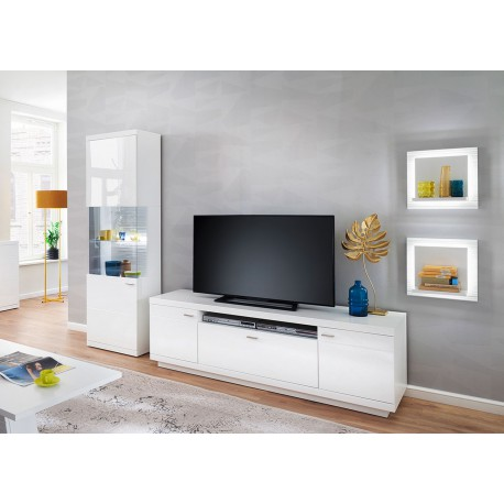 Meuble TV design blanc laqué