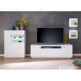 Meuble TV avec rangements blanc laqué