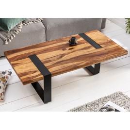 Table basse 120 cm bois massif et cadre métal noir