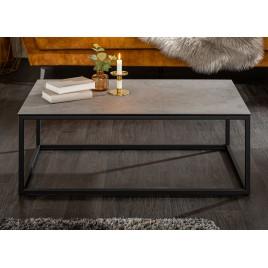 Table basse plateau céramique gris aspect béton et métal