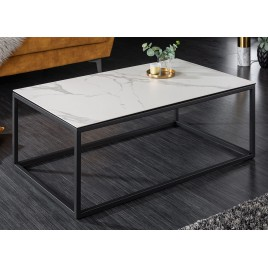 Table basse plateau céramique blanc aspect marbre et métal