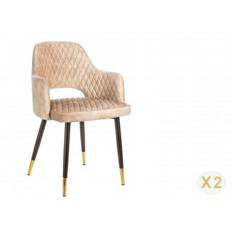 Chaise en velours grège de salle à manger design