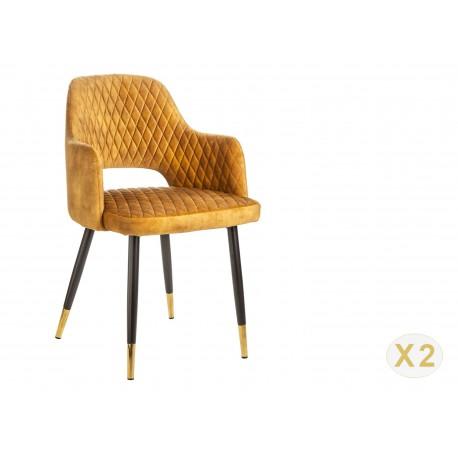 Chaise en velours jaune moutarde et pieds métal noir