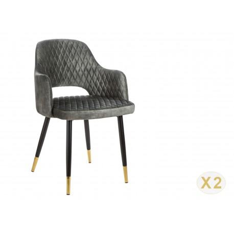 Chaise en velours gris vert et pieds métal noir