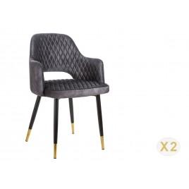 Chaises design en velours gris et pieds métal noir