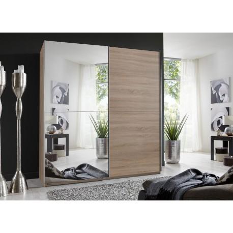 Armoire 2 portes coulissantes imitation chêne 179 cm