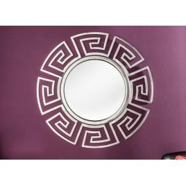 Miroir rond argenté design glamour 85 cm