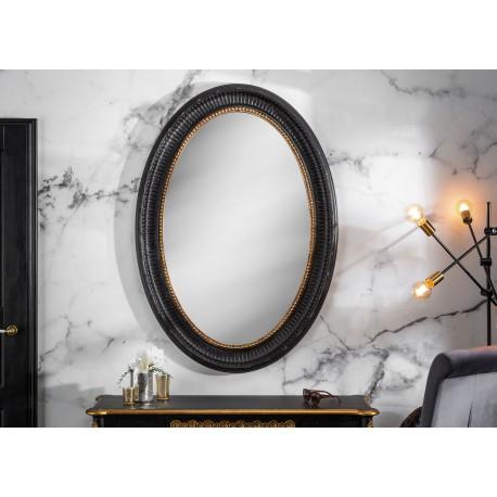 Miroir ovale baroque noir et doré 135 cm