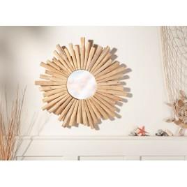 Miroir rond en bois fait main 60 cm