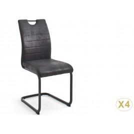 Lot de 4 chaises gris anthracite avec poignée au dossier