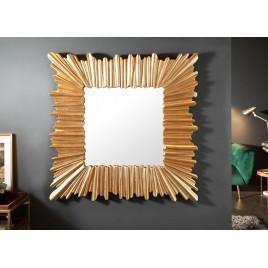 Miroir mural design carré cadre doré