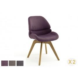 Lot de 2 chaises en tissu avec assise pivotante