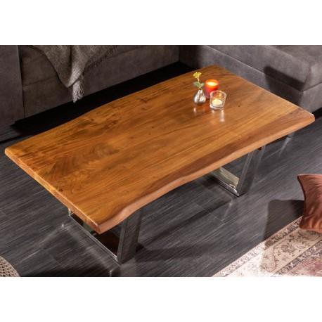 Table basse moderne bois d'acacia 110 cm
