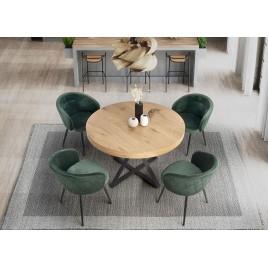 Table à manger ronde extensible finition chêne L 120-160 cm
