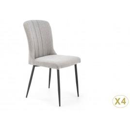 Lot de 4 chaises modernes en tissu gris et pieds en métal noir