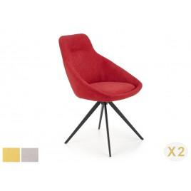Lot de 2 chaises en tissu 4 pieds design