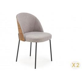Lot de 2 chaises bi matières tissu gris et bois