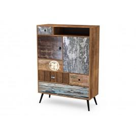Meuble commode vintage bois et métal