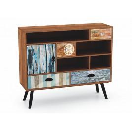 Commode vintage bois et métal à compartiments