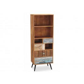 Meuble bibliothèque vintage bois et métal à compartiments