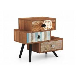 Petit meuble de rangement vintage bois et métal 3 tiroirs