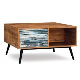 Table basse vintage bois et métal 1 tiroir et 1 niche