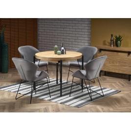 Table de repas ronde extensible 300 cm couleur chêne naturel