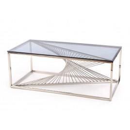 Table basse verre fumé et métal chromé