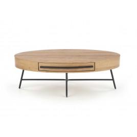 Table basse ovale avec tiroir chêne doré et noir