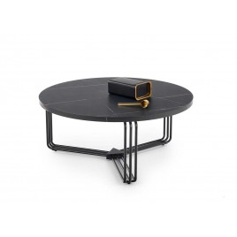Table basse ronde 80 cm effet marbre noir