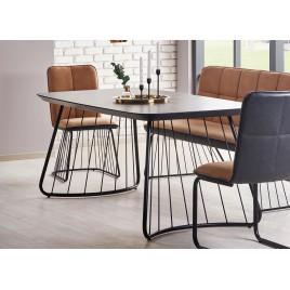 Table à manger design gris basalte et pied métal