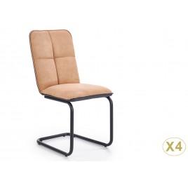 Lot de 4 chaises simili cuir marron clair et gris noir