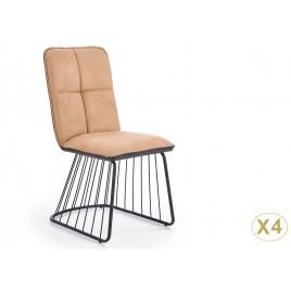 Lot de 4 chaises simili marron clair et pied métal noir
