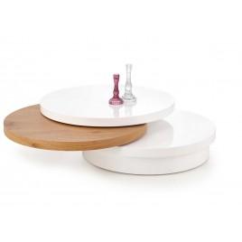 Table basse ronde plateaux pivotants chêne doré et blanc laqué