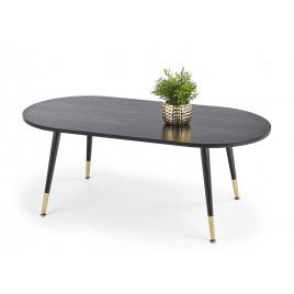 Table basse 120 cm bords arrondis plateau noir et pied doré