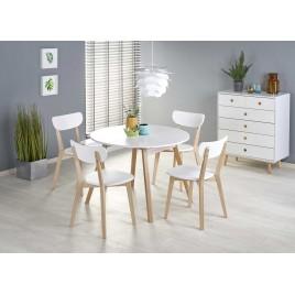 Table à manger extensible scandinave blanc et bois 102-142 cm