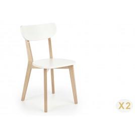 Lot de 2 chaises blanche et bois scandinave