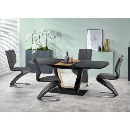 Table à manger design extensible noir et noyer
